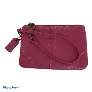 Coach Leather Wristlet Raspberry Color